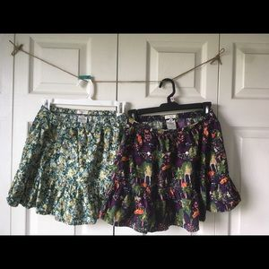 Lands' end corduroy skirts two prints